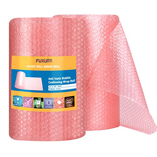 """Fuxury Pink Anti-Static Bubble Cushion Wrap Roll 12"""" Bubble Cushion Wrap Roll 2 Rolls 72 Feet Total,Perforated Every 12"""",Included 20 Fragile Stickers for Packaging Moving Supplies"""