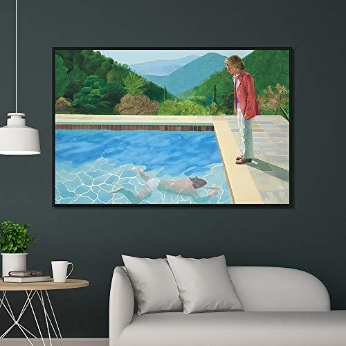 YIYEBAOFU DIY Malen nach Zahlen David Hockney Pool mit Zwei Figuren Leinwand Home Decor Wandplakate und Drucke Kunst Bild Wohnzimmer Drucke40x50cm(Kein Rahmen)