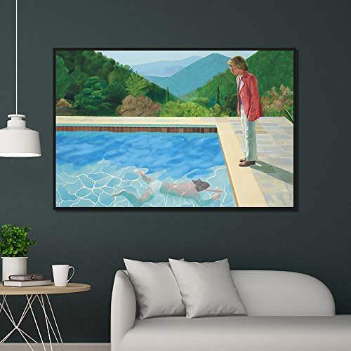zzlzjj David Hockney Pool mit Zwei Figuren Leinwand Home Decor Wandposter und Drucke Kunst Bild Wohnzimmer Drucke 50x75cm