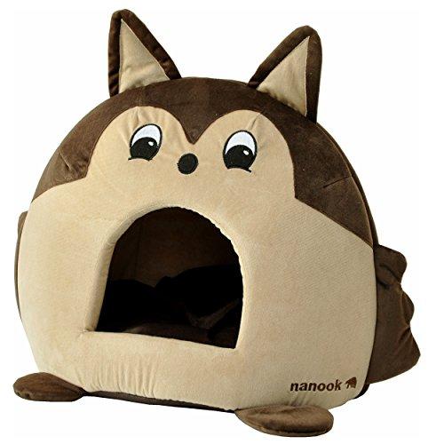 """nanook """"Sweety - Hundehöhle Katzenhöhle - mit großem Kissen, Wasserabweisend, Rutschfest - Motiv: Eichhörnchen - Größe L (42 x 42 x 36 cm)"""