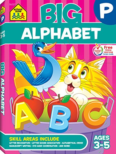 School Zone - Big Alphabet Workbook - Ages 3 to 5, Preschool to Kindergarten, Beginning Writing, Tracing, ABCs, Upper and Lowercase Letters, and More (School Zone Big Workbook Series)