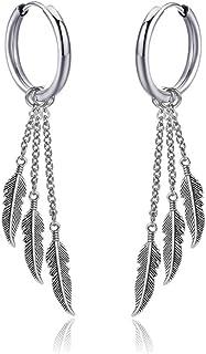 One men dangle guys dangle feather earring men silver men feather earring men symbol earring amulet men talisman dangle amulet earring gift