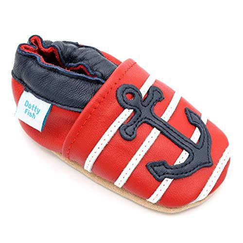 Dotty Fish weiche Leder Babyschuhe mit rutschfesten Wildledersohlen. 12-18 Monate (21 EU). Nautical rot, weiß und blau Anker Design. Jungen und Mädchen. Kleinkind Schuhe.