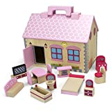 Imagination Generation Wooden Wonders Take-Along Country Cottage Folding Dollhouse with 13 Pieces of Furniture