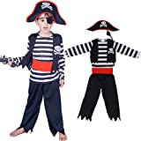 Children's Pirate Costume for Toddlers Boys Halloween Pirate Costume Set Pirate Suit Hat Eye Patche 7-9years Black