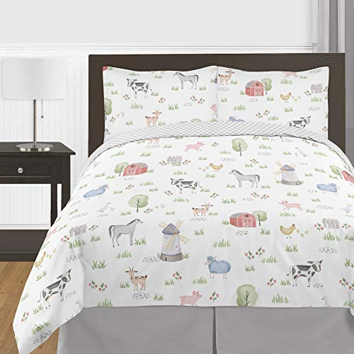 Sweet Jojo Designs Farm Animals Boy Girl Full/Queen Size Kid Childrens Bedding Comforter Set - 3 Pieces - Watercolor Farmhouse Lattice Horse Cow Sheep Pig