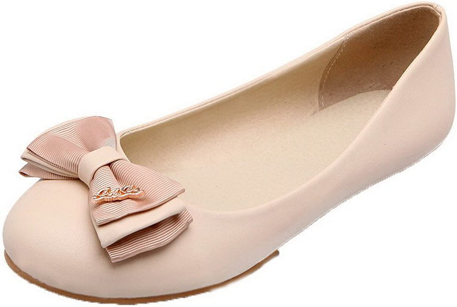 AmoonyFashion Women's PU Solid Pull-On Closed Round Toe No-Heel Pumps-shoes