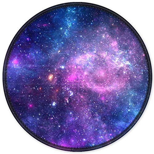 Auhoahsil Mouse Pad, Round Outer Space Galaxy Theme Anti-Slip Rubber Mousepad with Durable Stitched Edges for Gaming Office Laptop Computer Men Women Kids, Cute Custom Design, 8.7 x 8.7 in, Colorful
