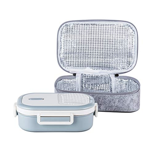 Lille Home Stainless Steel Leakproof Bento Lunch Box/Metal Food Container with Insulated Lunch Bag, BPA Free, 22 Ounces, Gray
