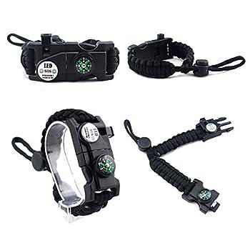 MansWill Bracelet de Survie Réglable, 7-Coeur Paracord Survival Wristband de Sport