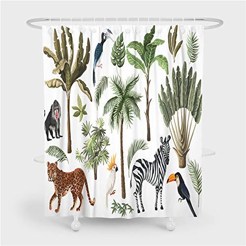 Badezimmer Vorhänge Zebra Leopard Orang-Utan Tukan Tiere Duschvorhänge Wasserdicht Mit Haken Home Decoration Waschbare Stoff Bad Bildschirm 200x180cm