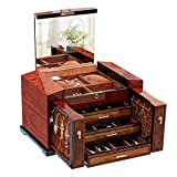 Thermoses Large Capacity Solid Wood Jewelry Box Organizer with Lock and Key and Big Mirror on The Lid - 3 Slide Drawers - 2 Small Side Cabinets