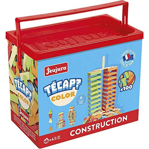 Jeujura - 8336- Jeux de Construction-Tecap Baril de Planchettes Color - 100 Pieces