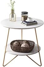 Qualife Round Sofa Side Table End Table with 2-Tier Storage White Small Coffee Table for Home Office Living Room Bedroom M...