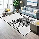 Toga Party Modern Toilet Carpet Rug Non-Slip Floor Mat Antique Statue of Augustus Vintage Ancient Historical King Emperor Figure Print Office Chair mat for Carpet Black White 6.5 x 8 Ft
