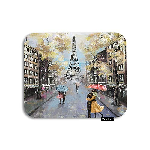 Moslion Paris Mouse Pad Oil Painting Autumn Lovers Kiss on Rainy France Street Eiffel Tower Gaming Mouse Pad Rubber Large Mousepad for Computer Desk Laptop Office Work 7.9x9.5 Inch