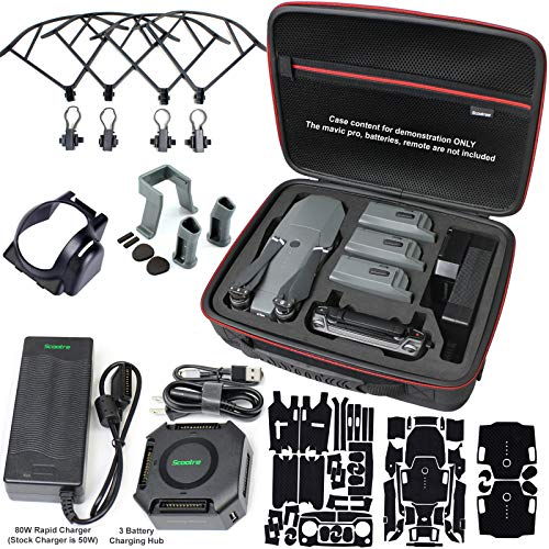 Scootree Mavic Pro Carrying Case Bundle with 80W Rapid Charger, Battery Charging Hub, Propeller Guards, Landing Gear Extension, Lens Hood & More Compatible w/DJI Mavic Pro, Platinum, Fly More Combo