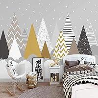 Empty カスタム3D壁壁画手描きの幾何学的な山の峰森の雲写真の壁紙子供の寝室PapelDe Parede Sala-450x300CM