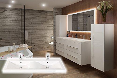 badmöbelset Elegantes Doppel-Badezimmer Möbelset in weiß inkl. Doppelwaschplatz in Wellenform(Hochglanz weiß)