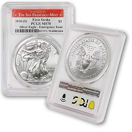2020 (S) 1 oz American Silver Eagle MS-70 (Struck at San Francisco - Covid Emergency Issue - First Strike) $1 MS70 PCGS