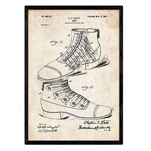 Nacnic Poster Patent Schuh Botin. Blatt mit altem Design-Patent in der Größe A3 und Vintage-Hintergrund