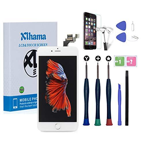 Xlhama Display LCD Touch Screen per iPhone 6 Plus Schermo Bianco 5.5  con Tasto Home Fotocamera Frontale Altoparlante Sensore di Prossimità Kit Frame con Pellicola Vetro temperato