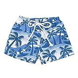 Toddler Baby Boys Swim Shorts Swimwear 1-4 Years Old Kids Hawaiian Print Broek Elastic Waistband Beach Shorts (2-3 Years Old, Blue)