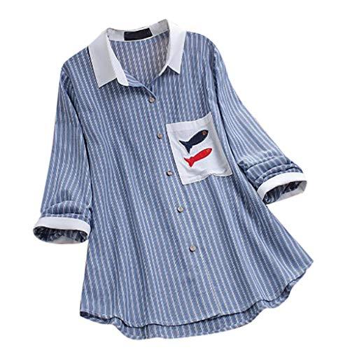 Auifor vrouwen casual strepen-print-borduurwerk lange mouwen - knooploos kant blouse-hemd