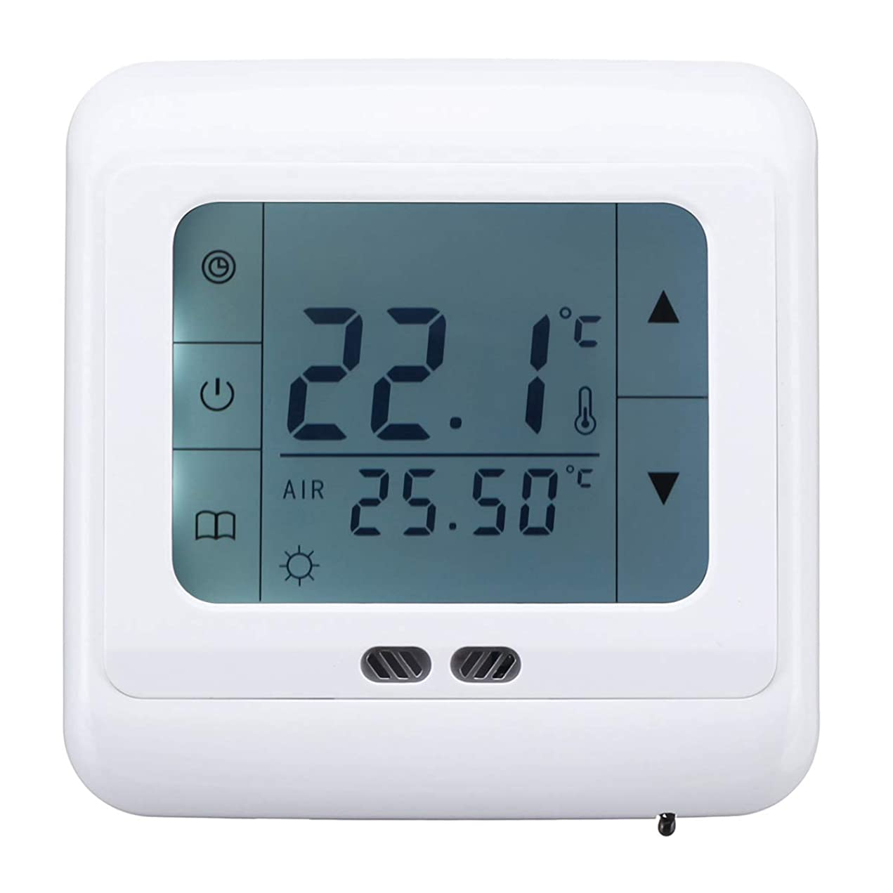減少異常な翻訳するQueenwind 5-35 ° c の床暖房のサーモスタット LCD 理性のプログラム可能な温度調整装置 AC 220V