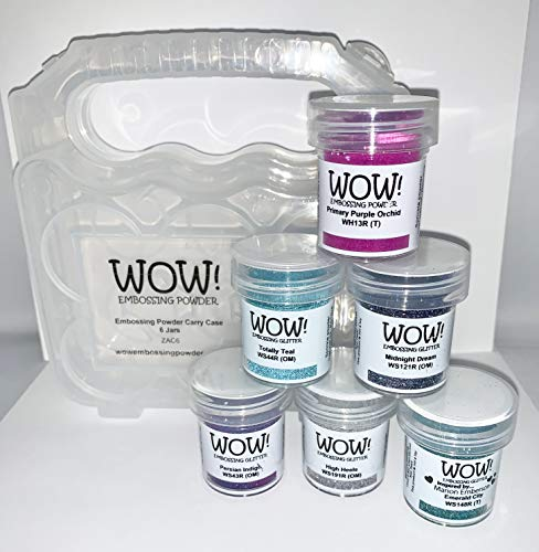Wow! Embossing Powder and Glitter in Ocean Blues Teal Purples 6-Pack Kit and Clear Carrying Case - Bundle 7 Items