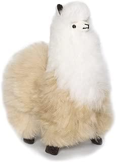 Incatrade 12 inch. Beige and White Alpaca Fur Toy. Handmade on Genuine Baby Alpaca Wool. Stuffed Animals (12 inch)