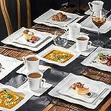 MALACASA, Serie Mario, 60 TLG. Cremeweiß Porzellan Geschirrset Kombiservice Tafelservice mit je 12 Kaffeetassen, 12 Untertassen, 12 Dessertteller, 12 Suppenteller und 12 Speiseteller - 6