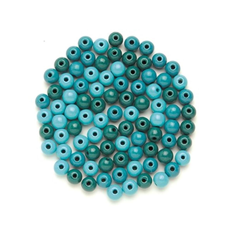 Glorex 6?1655?054?Wooden Bead 28?Pieces, Turquoise, 10?x 8.5?x 1?cm
