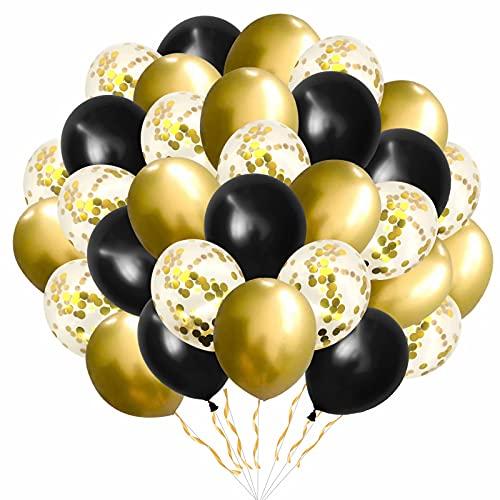 Luftballons Metallic Gold Schwarz Ballons,Luftballons Gold,60 Stück Geburtstagsdeko Gold ,12 Zoll Golden Konfetti Helium Balloons für Deko Party Hochzeit Valentinstag Geburtstagsballon