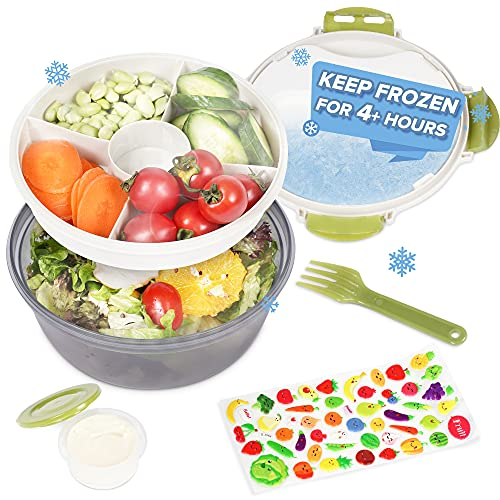 Bento Salad Box, CASA LINGO Lunch Salad Containers with 5 Compartments Tray for Kids and Adults, Salad Bowl with Dressing Container and Built In Ice Pack and Reusable Fork