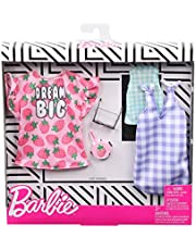 Barbie Clothes: 2 Outfits for Barbie Doll Include A Strawberry-Print Dress, A Checked Dress and Top, Plus A Strawberry-Decorated Purse and Heart-Shaped Sunglasses, Gift for 3 to 8 Year Olds​