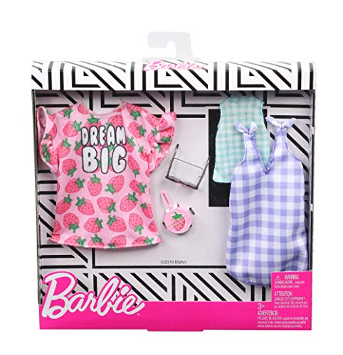 Barbie Clothes, 2 Outfits Doll Include a Strawberry-Print Dress, a Checked Dress and Top, Plus a Strawberry-Decorated Purse and Heart-Shaped Sunglasses, Gift for 3 to 8 Year Olds