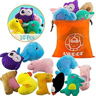 AWOOF 10pcs Dog Toys, Puppy Toys for Teething, Best Chew Squeaky Pet Dog Toys for Small Dogs