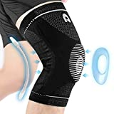 Professional Knee Brace for Men and Women, Non Slip Breathable Knee Compression sleeve with Gel Pads for Knee Protection, Knee Pain, Arthritis, Running, Workout, Meniscus Tear, Sports (Black, X-Large)