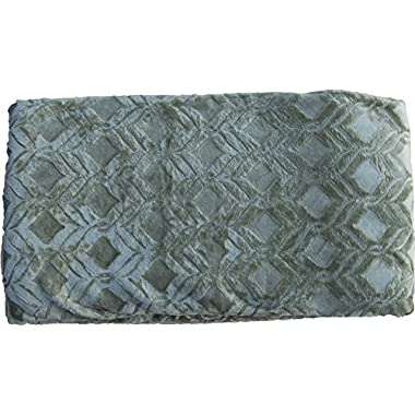 Fancy Linen FANCY Collection Super soft Solid Flannel Embossed Queen/King Size BLANKET Cover light weight Sage green