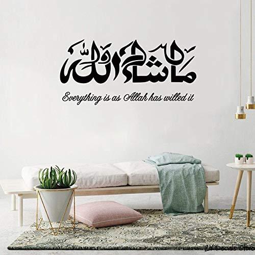 jiushivr Alá islámico Pared Arte Vinilo calcomanía Pegatina caligrafía Musulmana Mural decoración 40x83cm