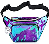 Shiny Neon Fanny Bag for Women Rave Festival Hologram Bum Travel Waist Pack (Iridescent Purple)