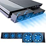 Cooling Fan for Play Station 4, USB Power Supply, Auto Temperature Detect, 5 Turbo Fans for Sony PS4 Console