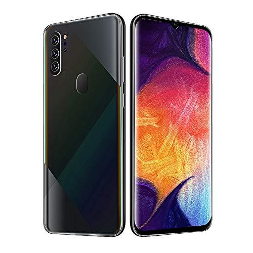 sjlerst 6 + 64g Smart Mobile Phone, Identificazione facciale dell'impronta Digitale 6.7in Drop Screen Dual Card Dual Standby Smartphone Black 100-240V(Me)