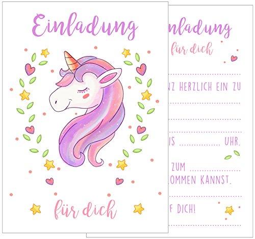 Edition Seidel Set 12 Einladungskarten Einladungen Kindergeburtstag Geburtstag Party Mädchen mit süßem Einhorn in rosa und pink Postkarte Einladung
