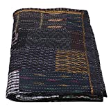 Assorted Decorative Patchwork Black Silk Patola Kantha Boho Kantha Bed Cover Throw Kantha Quilt Bohemian Blanket Hippie Queen Size Bedding Quilts Bohemian Handmade Throw Blanket Ethnic Kantha Quilts