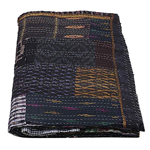 Manta decorativa de seda negra Patola Kantha Boho Kantha Funda de cama Kantha Colcha bohemia Manta Hippie tamaño Queen colchas bohemias hechas a mano manta étnica Kantha edredones
