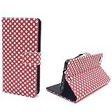 König Design Handyhülle Kompatibel mit Wiko Highway Pure Handytasche Schutzhülle Tasche Flip Hülle mit Kreditkartenfächern - Polka Dot Weiße Punkte Rot