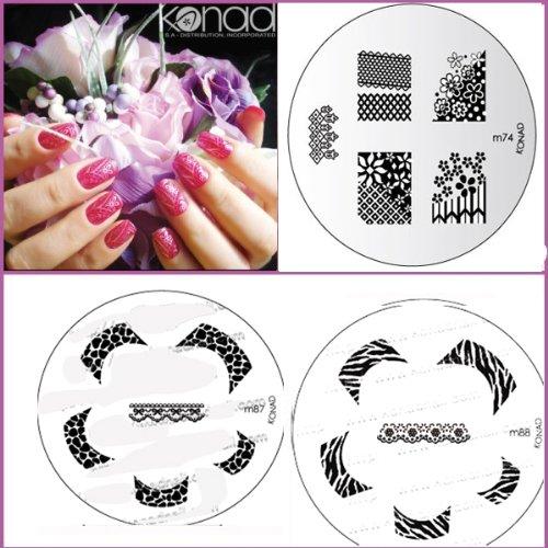 Bundle 5 pièces : Konad Plaque de nouvelles images M87, M88, véritable + Stamper & Scraper + A-viva Eco Lime à ongles