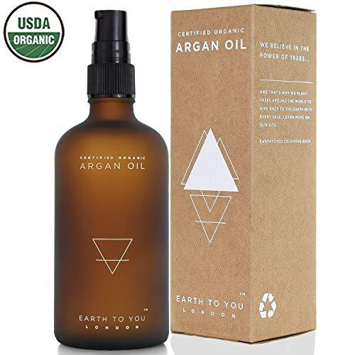 Arganöl aus Marokko. Bio, kalt gepresst, unbehandelt, für Haare, Haut, Gesicht, Nägel und Massage mit Pumpaufsatz. Natürliche Haarkur und Feuchtigkeitspflege 100 ml – von Earth To You London
